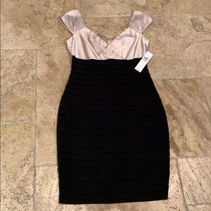 Fitted black and champagne dress